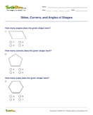 Sides, Corners, and Angles of Shapes - shapes - First Grade