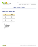 Input/Output Tables - linear-functions - Fourth Grade