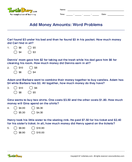 Add Money Amounts: Word Problems - money - Fourth Grade