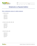 Multiplication as Repeated Addition - multiplication - Third Grade
