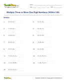Multiply Three or More One Digit Numbers (Within 100)