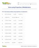 Solve using Properties of Multiplication - multiplication - Third Grade