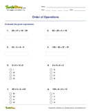 Order of Operations - order-of-operations - Fifth Grade