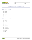Compare Numbers up to Billions - ordering-numbers - Fourth Grade