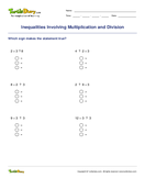Inequalities Involving Multiplication and Division - ordering-numbers - Fourth Grade