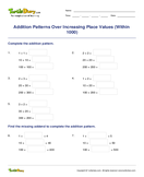 Addition Patterns Over Increasing Place Values (Within 1000) - whole-numbers - Third Grade