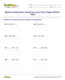 Balance Subtraction Equations up to Three Digits (Within 1000) - subtraction - Third Grade