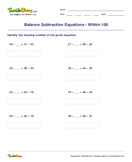 Balance Subtraction Equations - Within 100 - subtraction - Second Grade