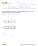Choose Numbers with a Given Difference - subtraction - Third Grade