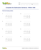 Complete the Subtraction Sentence - Within 1000 - subtraction - Second Grade