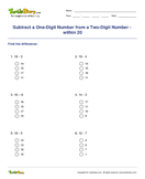 Subtract a One-Digit Number from a Two-Digit Number - within 20 - subtraction - Second Grade