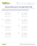 Subtract Numbers up to Three Digits (Within 1000) - subtraction - Second Grade