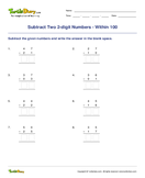 Subtract Two 2-digit Numbers - Within 100 - subtraction - Second Grade