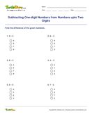 Subtracting One-digit Numbers from Numbers upto Two Digits - subtraction - First Grade