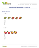 Subtracting Two Numbers Within 20 - subtraction - First Grade