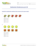 Subtraction Sentences up to 20 - subtraction - First Grade