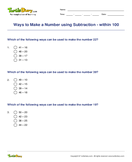 Ways to Make a Number using Subtraction - within 100 - subtraction - Second Grade