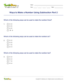 Ways to Make a Number Using Subtraction Part 2 - subtraction - Second Grade
