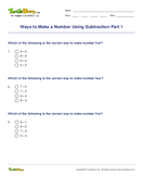 Ways to Make a Number Using Subtraction Part 1 - subtraction - First Grade