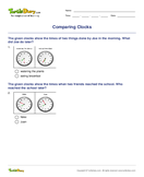 Comparing Clocks - date-and-telling-time - Second Grade