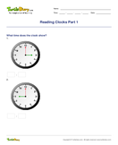 Reading Clocks Part 1 - units-of-measurement - First Grade