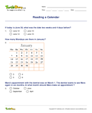 Reading a Calendar - date-and-telling-time - Fourth Grade