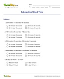 Subtracting Mixed Time - date-and-telling-time - Fourth Grade
