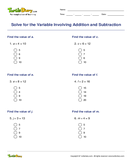 Solve for the Variable Involving Addition and Subtraction - variables - Third Grade