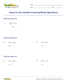 Solve for the Variable Involving Mixed Operations - variables - Third Grade