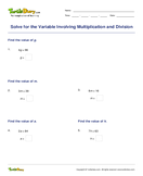 Solve for the Variable Involving Multiplication and Division - variables - Third Grade