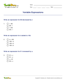 Variable Expressions - variables - Fifth Grade