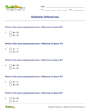 Estimate Differences - whole-numbers - Second Grade