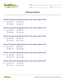 Estimate Sums - whole-numbers - Third Grade