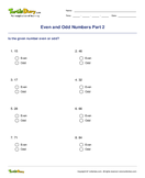 Even and Odd Numbers Part 2 - whole-numbers - Second Grade