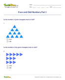 Even and Odd Numbers Part 1 - whole-numbers - First Grade